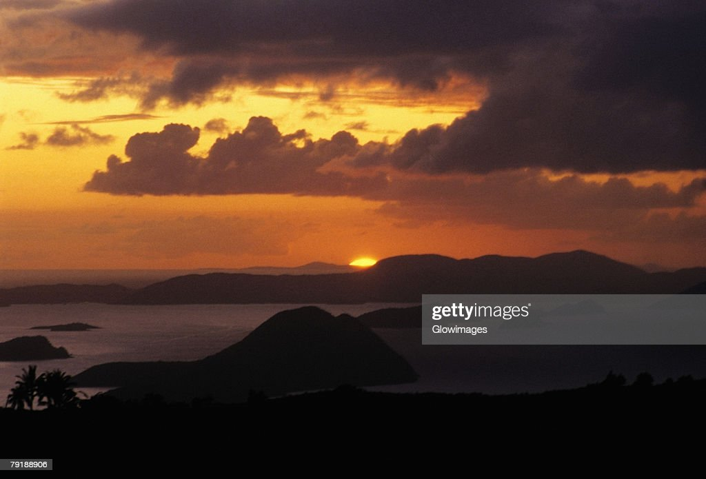 Sunset over the sea, West End, Tortola, British Virgin Islands : Stock Photo