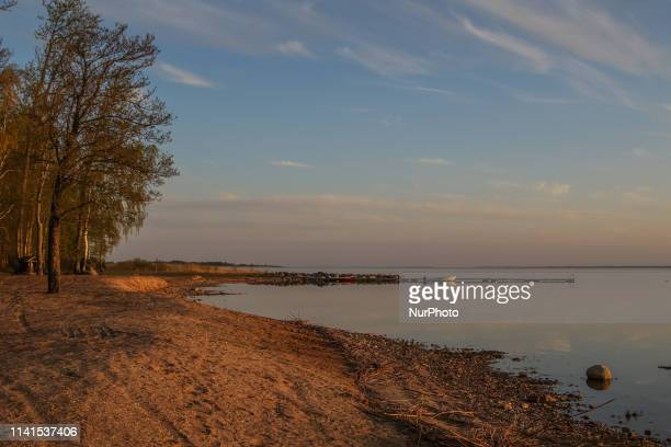 Sunset over the second largest lake in Estonia named Vortsjarv is seen near the village of Vaibla Estonia on 30 April 2019