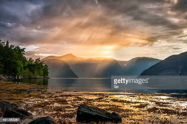 Sunset over the Sognefjord in Norway