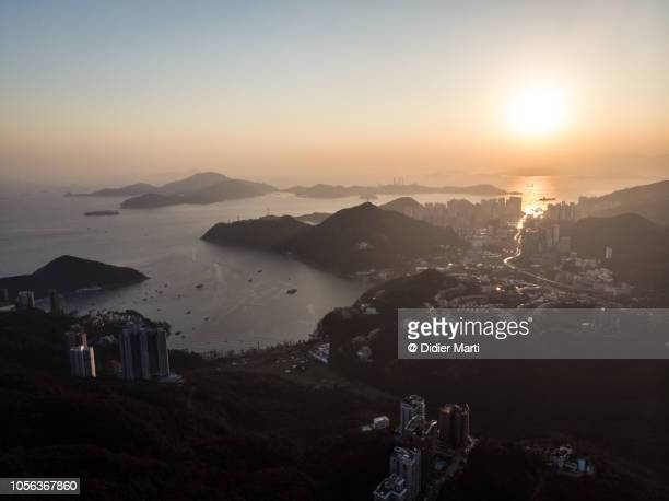 Sunset over the south of Hong Kong island, China