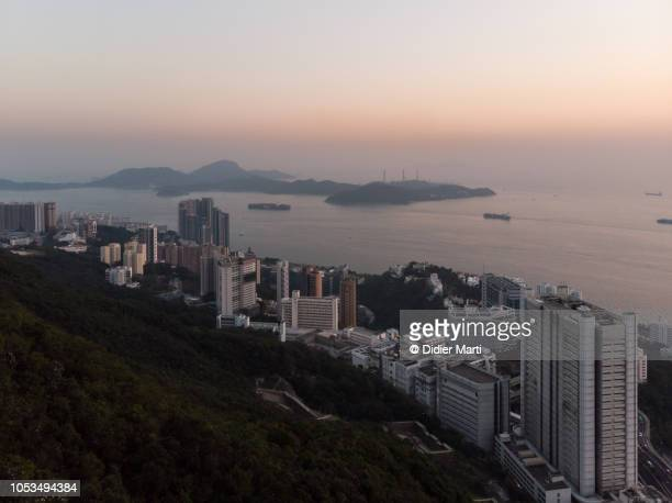Sunset over the south of Hong Kong island