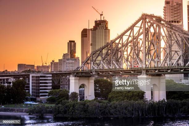 Sunset over the Story Bridge in Brisbane, Australia