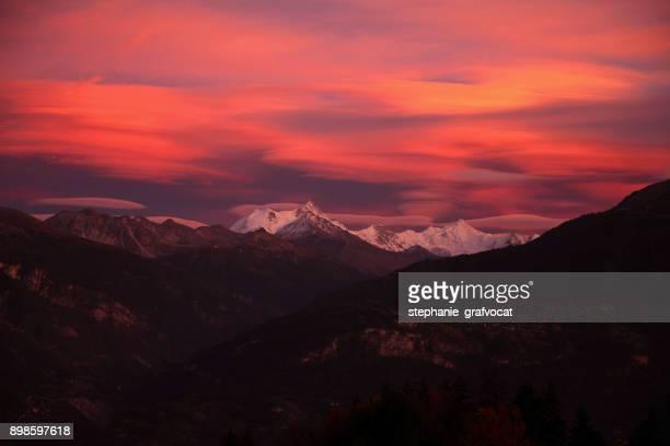 Sunset over the Swiss Alps, Switzerland