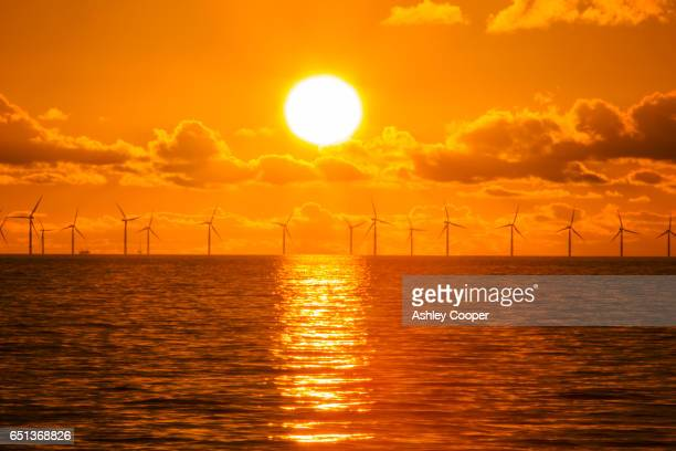 sunset over the walney offshore wind farm from walney island  the windfarm will shortly be the largest offshore wind farm in the world and currently generates 367 mw. - climate change stock pictures, royalty-free photos & images