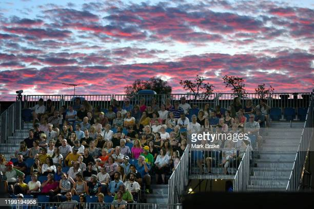 Sunset over the western stand during day two of the 2020 Adelaide International at Memorial Drive on January 13 2020 in Adelaide Australia