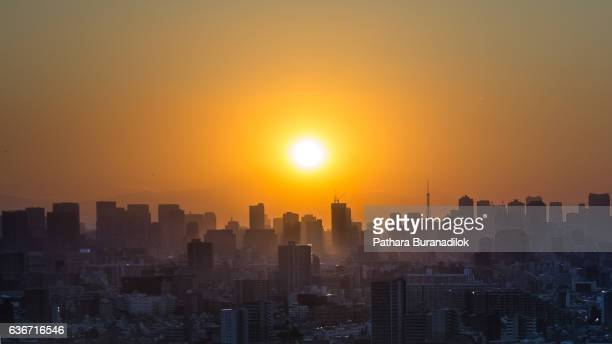 Sunset Over Tokyo City Scape