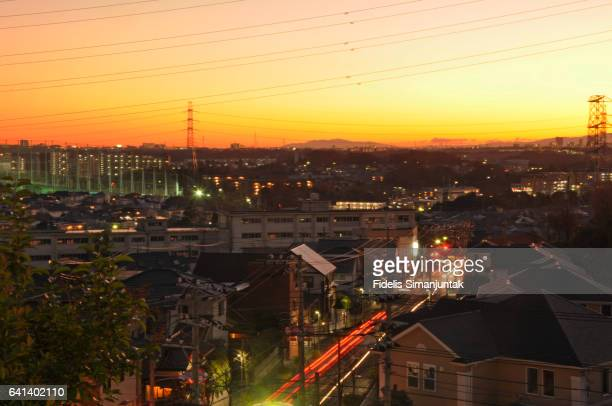 Sunset over Tokyo Suburb