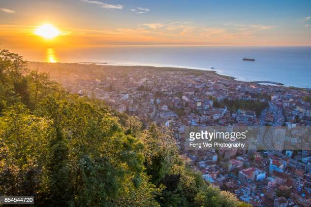 sunset over trabzon, black sea region, turkey - trabzon stock photos and pictures