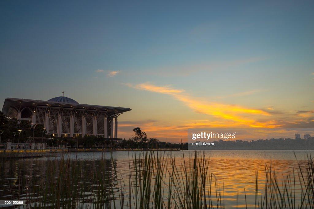 Sunset over Tuanku Mizan Zainal Abidin Mosque : Stock Photo