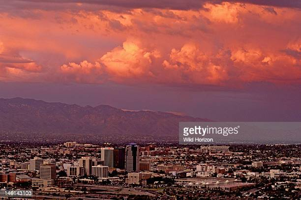 Sunset over Tucson with Santa Catalina mountains in the background tucsonaz