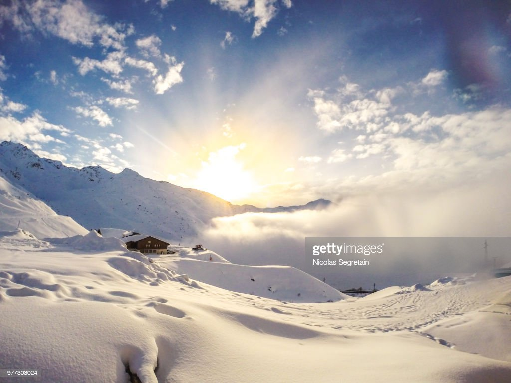 Sunset over val thorens, Savoie, France : Stock Photo