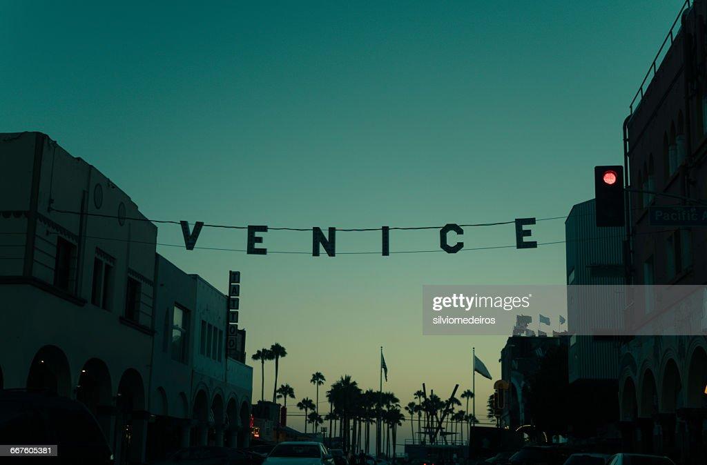 Sunset over Venice Beach, California, America, USA : Stock Photo