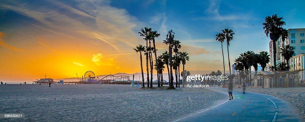 Sunset Over Venice Beach Stock Photo