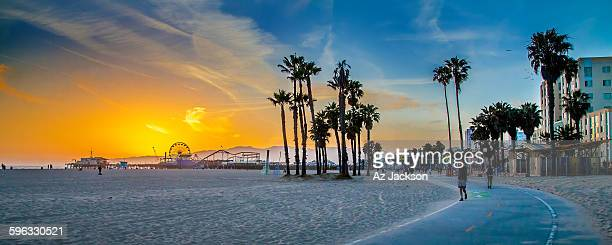 sunset over venice beach - santa monica stock-fotos und bilder