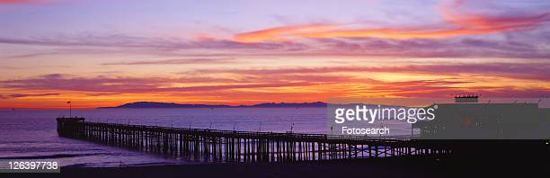 Sunset over Ventura Pier Channel Islands and Pacific Ocean