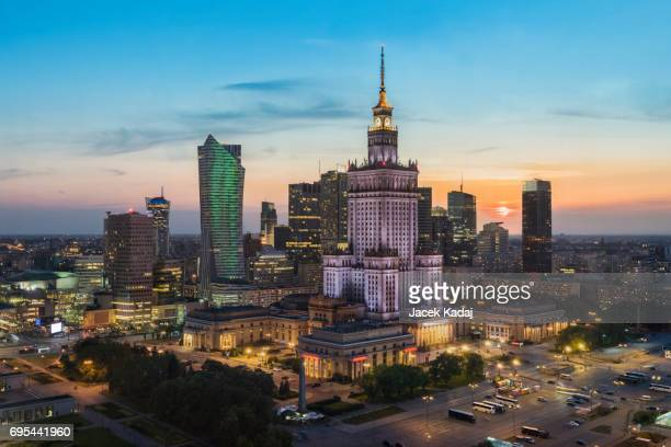 sunset over warsaw - warsaw stock pictures, royalty-free photos & images