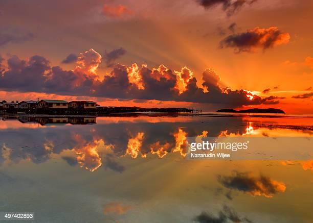 Sunset over water village in Sabah