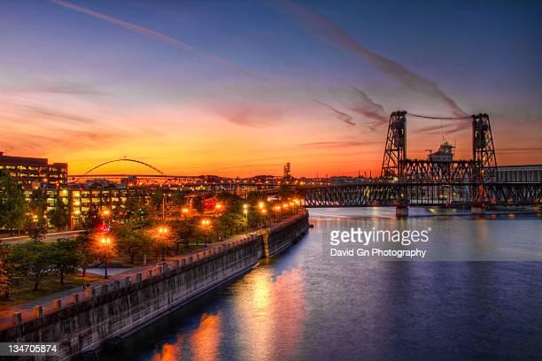 Sunset Over Willamette River Portland Oregon