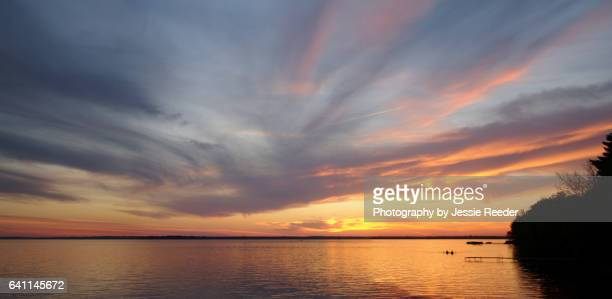sunset over wisconsin lake - howard,_wisconsin stock pictures, royalty-free photos & images