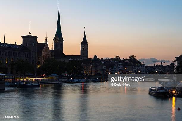 Sunset over Zurich old town in Switzerland