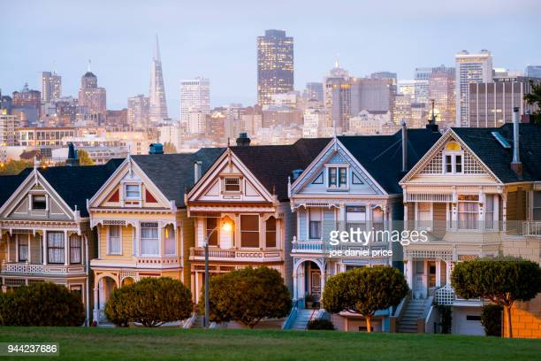 sunset, painted ladies, san francisco, california, america - san francisco bay area stock pictures, royalty-free photos & images