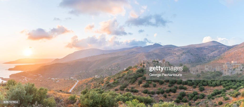 Sunset panorama over the South Peloponnese, Greece : Stock Photo