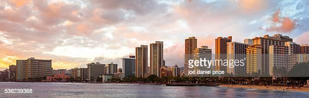 sunset, panorama, waikiki, honolulu, oahu, hawaii, america - ワイキキビーチ ストックフォトと画像