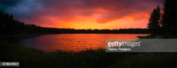 Sunset panorama with lake, Kuusamo, Finland