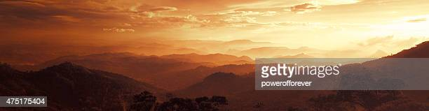 Sunset Panoramic of the Western Ghats Mountains in Munnar, India