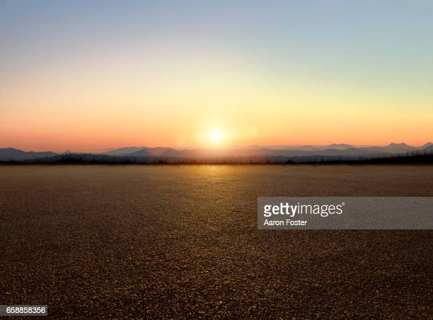 sunset parking lot - tarmac stock pictures, royalty-free photos & images