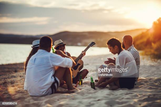 Sunset party by the sea