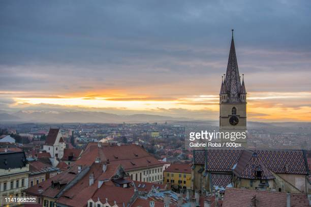 sunset - sibiu stock photos and pictures