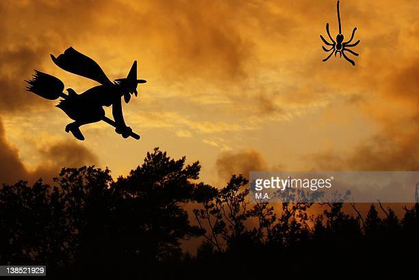 sunset - witch flying on broom stock photos and pictures