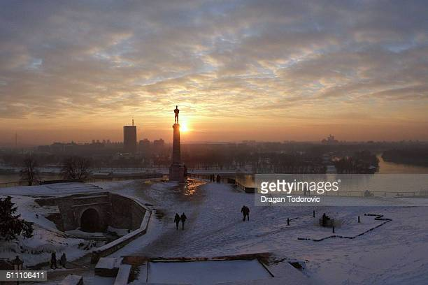 sunset - belgrade stock pictures, royalty-free photos & images