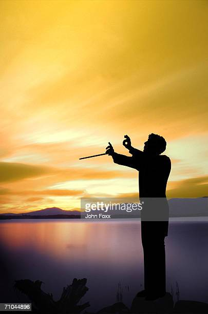 sunset - conductor's baton stock photos and pictures