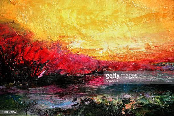pôr-do-sol - pintura a óleo imagem pintada - fotografias e filmes do acervo