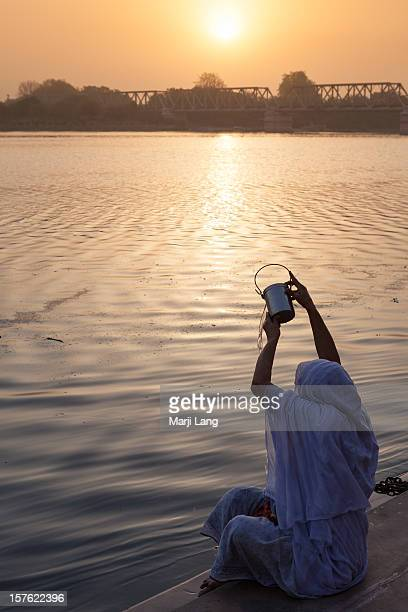 Sunset puja ceremony by the holy Yamuna river