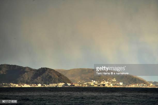 Sunset rainy clouds on Miura Peninsula and Sagami Bay in Kanagawa prefecture in Japan