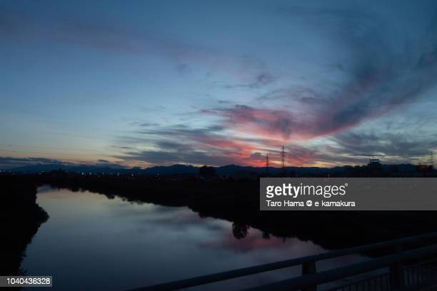 Sunset red-colored clouds on Koriyama city in Fukushima prefecture