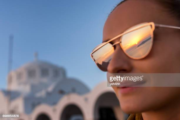 Sunset reflection in sunglasses