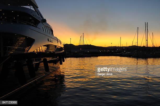 Sunset reflections at a marina in Ibiza