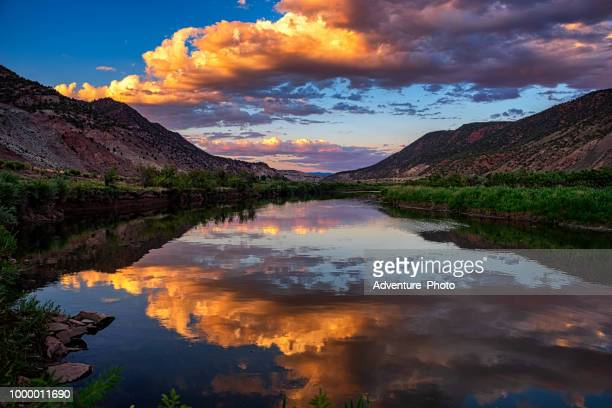 sunset reflections mountain river scenic landscape colorado - colorado stock pictures, royalty-free photos & images