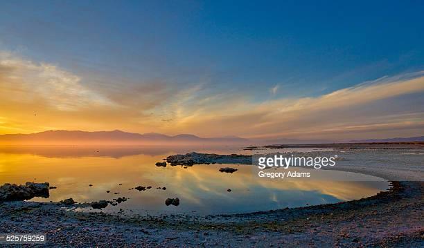 Sunset reflections on the Salton Sea