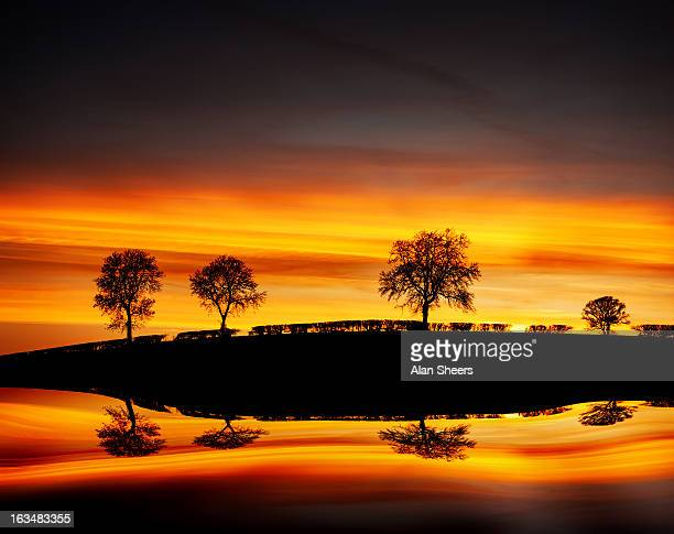sunset reflections - northamptonshire stock pictures, royalty-free photos & images