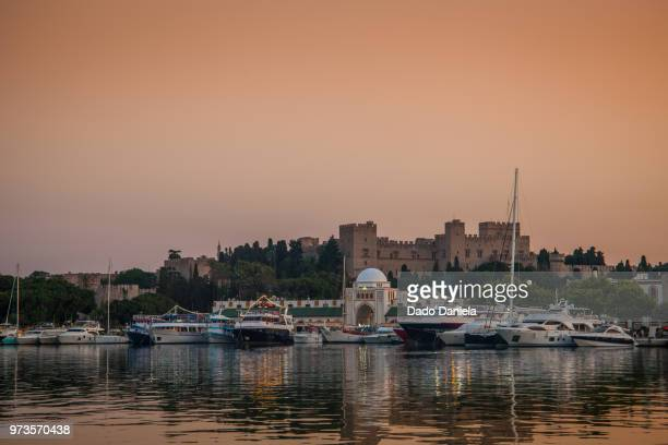 sunset rhodos - lindos stock photos and pictures