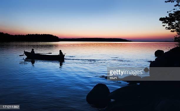 sunset rowboat