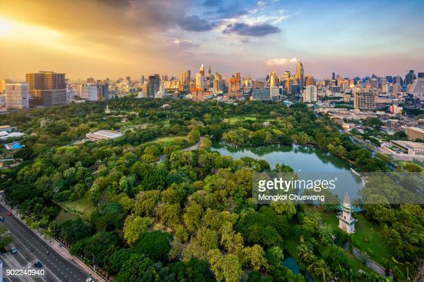 Sunset scence of Bangkok skyline Panorama