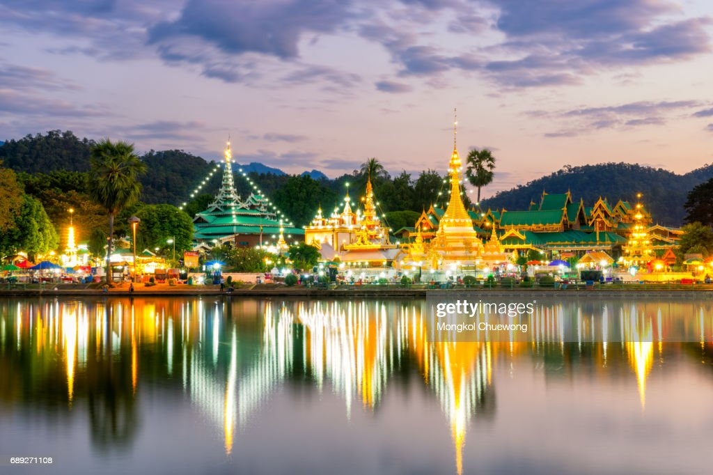 Sunset scence of Wat Jongklang temple : Stock Photo