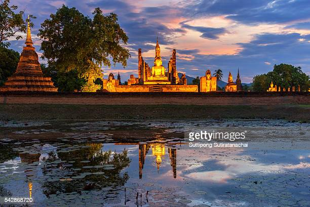 Sunset scene at sukhothai historical park Thailand