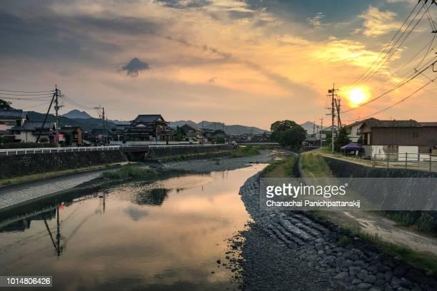 sunset scene of hama river in hizen hamashuku, saga, japan - 佐賀県 ストックフォトと画像